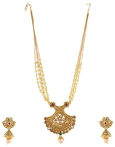 0bf19949e Anuradha Art Green-Red Colour Trendy   Classy Wonderful Traditional Long Pendant  Necklace Set For