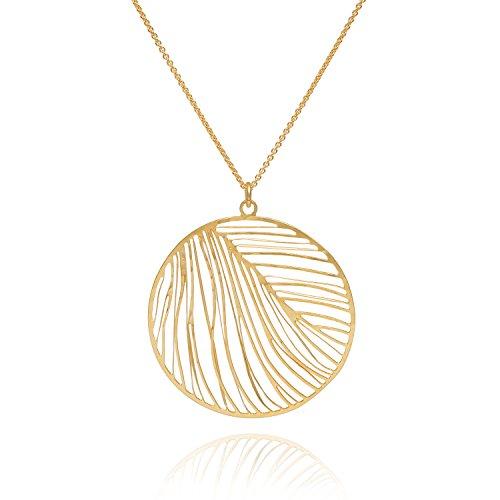 David aubrey collana donna oro rotondo ciondolo piuma forbici taglio laser cut argento placcato oro 18k–atln10382a