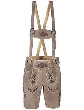 Oktoberfest-Kleidung Herren Trachten-Lederhose sandgrau aus Echtleder mit traditioneller Stickerei