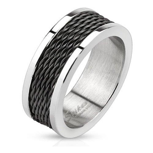 Paula & Fritz anello in acciaio inox 316L argento Trim e interno nero catena anello misure T R m00368(19)-69(22), acciaio inossidabile, 65 (20.7), cod.
