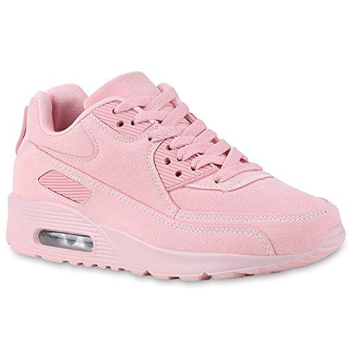 Damen Herren Unisex Sport Runners Sneakers Lauf Trendfarben Schuhe 134751 Rosa Total 37 | Flandell®