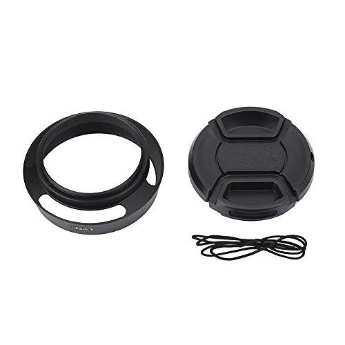 Simlug Gegenlichtblende mit Kappe, 43 mm Gegenlichtblende aus schwarzem Metall mit Kunststoffkappe für Leica Fotografie-Zubehör Camera Lens Hood