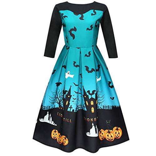 Longra Damen Halloween Schloss Fledermaus Print Kleider Vintage -