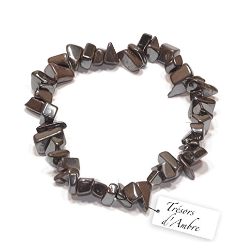 Trésors d'Ambre Bracelet Baroque en Hématite - Pierre Naturelle - Lithothérapie Reiki - Anti-Stress
