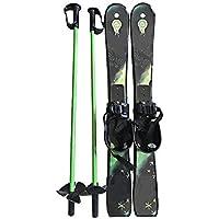 LEYOUDIAN Huaxueban Esquís para niños Chapa Doble para Aumentar el Engrosamiento con un Juego de Polos Unisex (Color : Green)