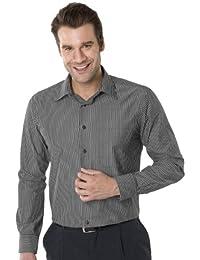 QUALITYSHIRTS Langarm Streifen Hemd mit Kent Kragen Gr. 39 - 54