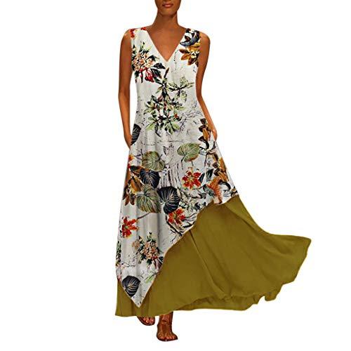 Damen Vintage Sommerkleid Long Mode Übergröße V-Ausschnitt Spleißen Blumen Bedruckte ärmellose Maxikleid unregelmäßiger Saum Freizeitkleider Leinenkleid Tuchkleid Blusenkleid Z-Gelb S (Kinder Für Piraten-kostüme Günstige)