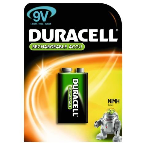 Duracell 15036495 Wiederaufladbare NiMH-Batterie, 170mAh, 9V