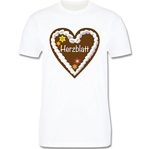 Oktoberfest Herren - Lebkuchenherz Herzblatt - Herren Premium T-Shirt Weiß