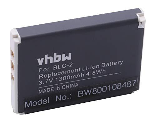 vhbw Li-Ion Akku 1300mAh (3.7V) für Handy Smartphone Telefon Obi Wolverine S501 wie BLC-2, BLC-1, BTY800.