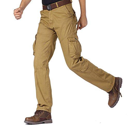 THWS I pantaloni da uomo i pantaloni casual cotone dritto nella vita di colore solido giovani attrezzi per esterno Kaki
