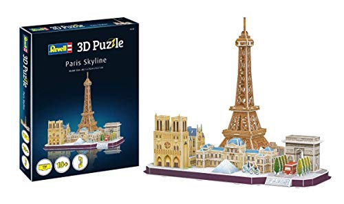 Revell 3D Puzzle 00141 Paris Skyline mit Notre Dame, Louvre, Triumphbogen und Eiffelturm Die Welt in 3D entdecken, Bastelspass für Jung und Alt, farbig (3d-modelle)