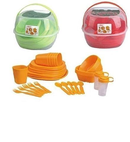 Couleur vert pique-nique camping picnics4fun kit de vaisselle pour 4 personnes panier de 36 pièces