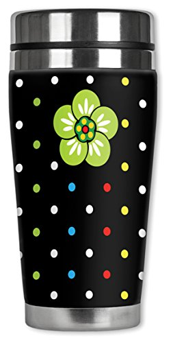 Mugzie ® MAX 20 ml tasse de voyage en acier inoxydable avec combinaison isotherme-Pois et fleurs