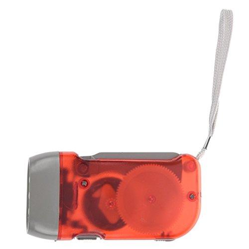 TOOGOO (R) Rojo - Linterna 3 LED No Bateria con Manivela para Campamento Exterior