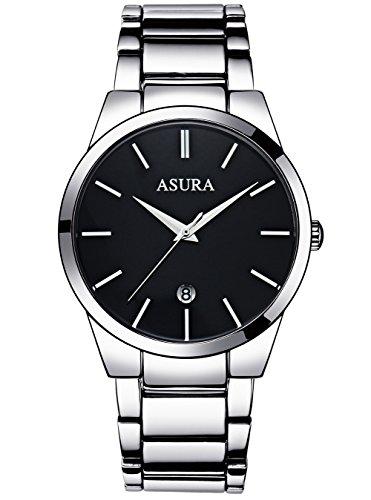 Herren Armbanduhr Edelstahl Männer Luxus Design 30M Wasserdicht Kalender Analog Uhr Schwarz Silber Geschäft Lässig Uhren Schwarz Zifferblatt mit Frei Uhrenarmband Werkzeug (Weiß)