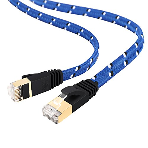 ELEGIANT 10m CAT. 7 RJ45 Stecker Gigabit Ethernet Kabel Netzwerkkabel Patchkabel Modem Router LAN Netzwerk High Speed Nylon Braid Goldstecker für Computer Hubs ADSL Switch Router