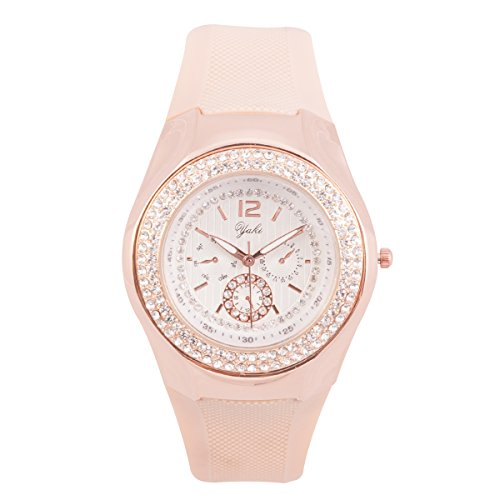 Modeschmuck Designer Berühmt (Yaki Neu Sportliche Damen Armbanduhr Analog Quarz Uhren Markenuhren Strass mit)