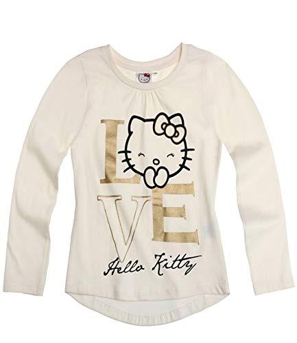 Hello Kitty Langarmshirt Sweatshirt für Mädchen in 4 Größen und 3 Motive wählbar, Farbe:creme, Größe:140 (Kitty Sweatshirt Für Hello Mädchen)