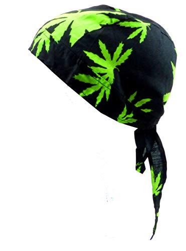 Kind Punk Kostüm Piraten - Evil Wear Kopftuch schwarz mit Hanf Motiv Kinder Erwachsene