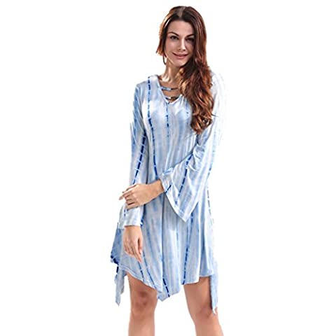 Women's summer, V-neck, long sleeves, tie-dyed, loose, dress , #1 , m