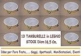 ARDITO MICHELE 10 TAMBURELLI TAMBURELLO in Legno 16,5 cm con Sonagli in Metallo Stock Festa Party Spettacolo Saggio