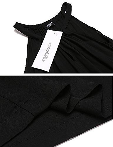 Zeagoo Damen Sommerkleid Neckholder Ärmellos Partykleid Cocktailkleid A-Linie Rockabilily Ballkleid Knielang Vokuhila #03Schwarz