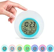 Kids Alarm Clock, Digital Wake Up Clock with 7 Colors Changing Light & 6 Optional Alarm Nature Sounds, wit