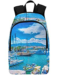 Main Port Kos Island Greece HDR Casual Daypack Travel Bag College School Backpack for Mens and Women