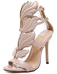 BeautyTop Sandali Estivi da Donna con Zeppa Elegante Ragazze Estate Sandali con Cinturini Pantofole Scarpe Piatte Alla Caviglia Basse da Aperte Peep Sandalo (Size=41, Marrone)