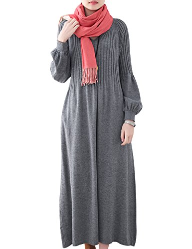 Youlee Femmes Hiver Automne Robe Pull en Laine Manches Longues Robes Maxi Style 3 Grey
