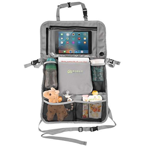 FIOLY® Auto Rücksitz Organizer | Rücksitztasche für Kinder | Innovativer 2in1 Autositz-Schoner mit iPad Tablet Fach | Rückenlehnenschutz zur Befestigung am Autositz und Kinderwagen
