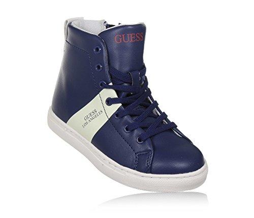 GUESS - Sneaker bleue à lacets en cuir, avec fermeture éclair latérale, Garçon, Homme