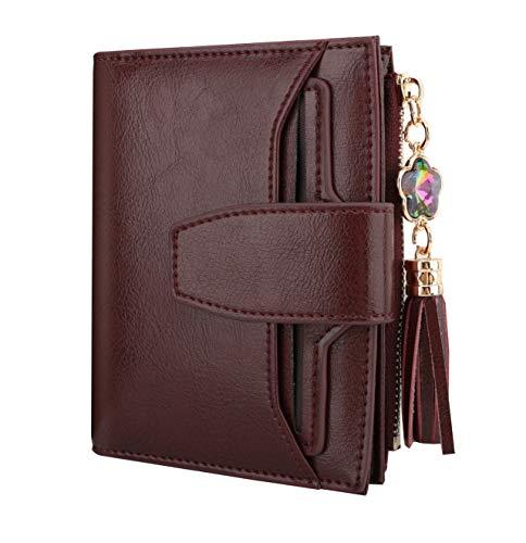 Luxspire Echtes Leder Damen RFID Blocking Wallet, kleine kompakte Reißverschlusstasche Brieftasche Kartenetui Geldbörse Brieftasche mit 2 ID Fenster - Weinrot