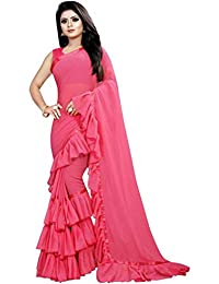 Amiga Fashion Women's Georgette Ruffle Saree With Blouse Piece (Free Size_More Colored available)