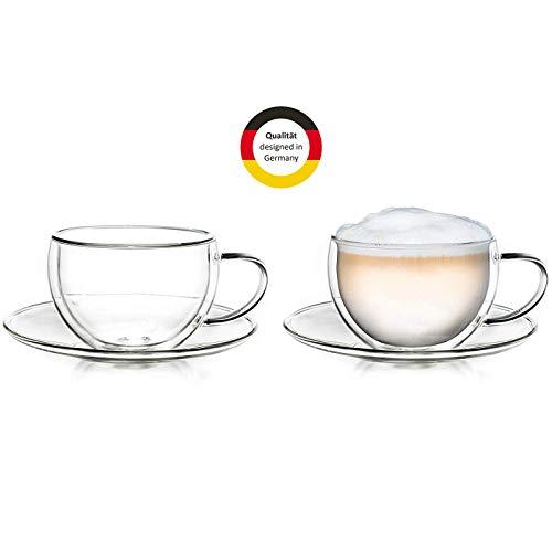 Creano Thermo-Tasse doppelwandige Tee-/Latte Macchiato Cappuccino Tasse mit Untersetzer 250ml, 2er Set