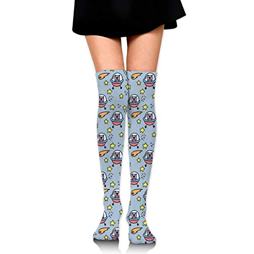 ouyjian Women Crew Socks Thigh High Knee Space Craft Bear Long Tube Dress Legging Soccer Compression Stocking Knit Tube Dress