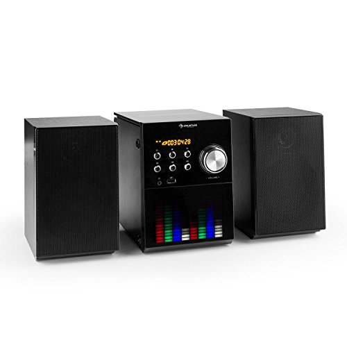 auna MC-200 LED Stereoanlage Kompaktanlage Mini Microanlage (Bluetooth, MP3-fähiger CD-Player und USB-Port, UKW Radio, AUX-IN, LED-Panel, 2-Wege Bassreflexlautsprecher) schwarz