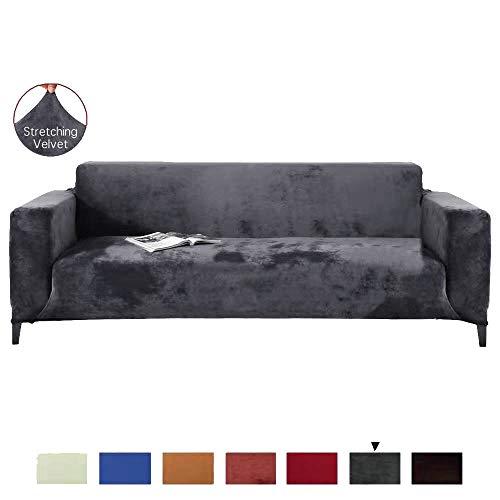 YJOY Stretch Sofa Überwurf Sofabezug,1 2 3 4 5 Sitzer Reine Farbe Sofabezug Velvet Einfach fit elastisch Aus Stoff Stretch Sofa(Das L-förmige Ecksofa muss Zwei kaufen)