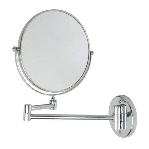 nie wieder bohren MR487 miroo Kosmetikspiegel, doppelseitig, 3fach und 1fach Vergrößerung, Durchmesser 20 cm, verchromt inklusive Befestigungstechnik