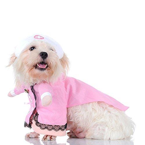 Imagen de l peach disfraz de enfermera ropa traje rosa para mascotas animal doméstico gato perro con dos patas y gorro para halloween navidad m alternativa