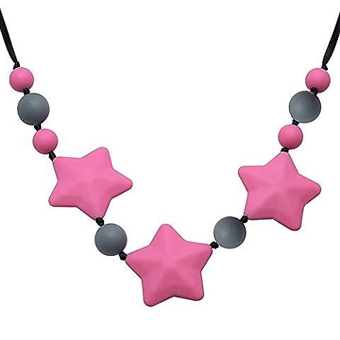 rose charmes collier rouge étoile chewable desinger pour les femmes, bébé de dentition soulagement de la douleur silicone bpa coffre-fort gratuit