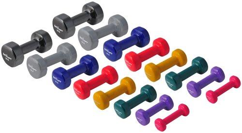 39Kg (2x0.5, 2x1, 2x1.5, 2x2, 2x2.5, 2x3, 2x4, 2x5) Vinyl Gymnastikhantel Hantel
