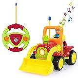 ANTAPRCIS Ferngesteuertes Auto Kinder,Ferngesteuerter Traktor Spielzeug,Licht- und Soundfunktion ,Cartoon Wagen für Kinder Kindergeschenk Gelb