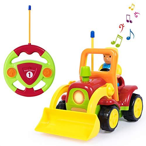 SGILE RC Auto Ferngesteuertes Spielzeugauto, Traktor Spielzeug mit Licht und Musik, Auto Spielzeug Cartoon Wagen für Kleinkinder und Kinder Geschenk Gelb