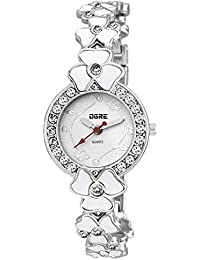 OGRE Women's Round Shape White Dial White Silver Wrist Watch LY-20