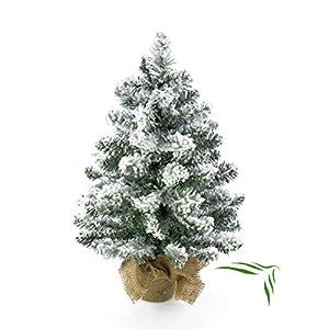 artplants.de Künstlicher Mini Weihnachtsbaum Reykjavik im braunen Dekosack, beschneit, 65 Zweige, 45cm, Ø 20cm - Kunst Tannenbaum - Deko Christbaum