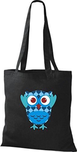 ShirtInStyle Jute Stoffbeutel Bunte Eule niedliche Tragetasche mit Punkte Karos streifen Owl Retro diverse Farbe, blau schwarz