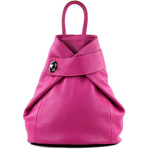 modamoda de - T179 - ital Damen Rucksack Tasche aus Leder, Farbe:Pink