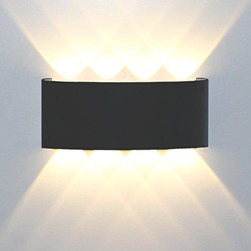 Applique Led Murale,8W Moderne LED Lampe Murale Interieur / Exterieur luminaire en aluminium IP65 Imperméable Design 3000K Blanc Chaud pour Chambre Maison Couloir Salon (Noire)